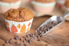 Pumpkin-Chocolate Chip Muffins with Caramel Swirl | Two Healthy Kitchens