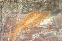 Pictograma de una tortuga con algunos de sus órganos internos En Australia se ha encontrado una significativa cantidad de pinturas, cuyos ejemplos más importantes están en el Parque Nacional Kakadu, una gran colección de pinturas a base de ocres. El ocre es un material no orgánico, por eso es imposible fechar las pinturas con el procedimiento de radiocarbono.