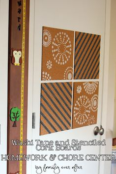 Stenciled corkboards {Family Ever After}