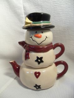 Ceramic Snowman Stacking Tea for One Crackle Glaze Bella Casa by Ganz