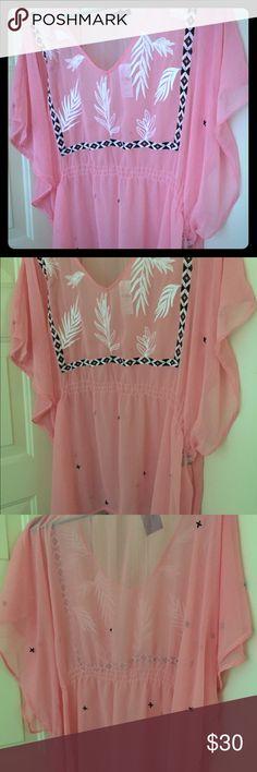 Pink Sheer Top Pink, black & white sheer elastic waste top. Perfect for Spring & Summer. Lane Bryant Tops Blouses