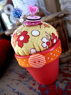 Pin cushions made with a terra cotta pot!! Adorable!!