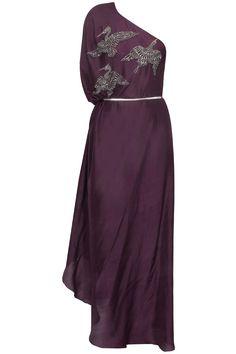 Wine bird motifs one shoulder drape kaftan available only at Pernia's Pop Up Shop.#perniaspopupshop #shopnow #happyshopping #designer #newcollection #priyankaparekh #winterfestive