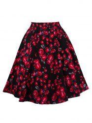 Ornate Floral Print Zippered Skirt