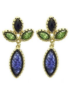 Deep Blue Stem Stone Earrings from Helen's Jewels