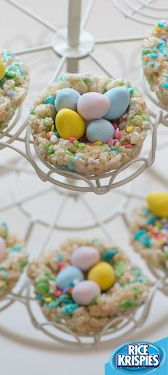 Hatch this delicious Easter idea! Use Rice Krispies® Spring Edition cereal to make nests that are just as irresistible as the chocolate eggs they hold.