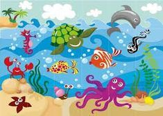 A good underwater scene for my sons' art Painting For Kids, Drawing For Kids, Art For Kids, Diy And Crafts, Crafts For Kids, Arts And Crafts, School Murals, Class Decoration, Sea Theme