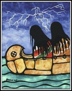 Ayla Bouvette - Metis Art - ThunderBird Appears Date unknown. Native American Paintings, Native American Artists, Native American History, Canadian Artists, Native American Indians, Indian Paintings, Abstract Paintings, Art Paintings, Arte Haida