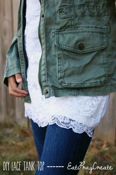 DIY Lace Tank Top Tutorial by EatPrayCreate - great for layering anytime of the year!