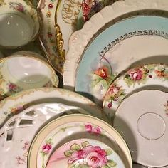 24 Vtg & Antique Mismatched Fine China Dinnerware Place Settings /Serving Dishes  | eBay