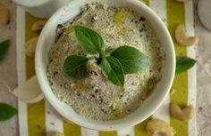 Κρέμα πέστο από κάσιους Hummus, Pesto, Dips, Cereal, Oatmeal, Veggies, Pudding, Breakfast, Ethnic Recipes