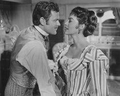 """Ava Gardner with Howard Keel in """"Showboat"""" an XLNT Musical! Golden Age Of Hollywood, Vintage Hollywood, Kathryn Grayson, Howard Keel, Show Boat, An American In Paris, Dance Numbers, Hollywood Costume, Gene Kelly"""