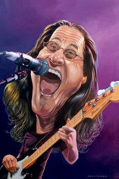 A portrait of Rush bassist and lead singer Geddy Lee, by Chronicle Herald cartoonist Bruce MacKinnon. Great Bands, Cool Bands, Rush Albums, Rush Band, Geddy Lee, Alex Lifeson, Neil Peart, Celebrity Caricatures, Celebrity Drawings