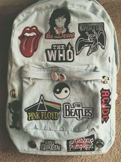 Bag: denim backpack band pink floyd the rolling stones grunge rock.