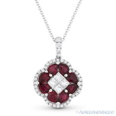 The featured pendant is cast in white gold and showcases a flower design made up of a centerpiece of four princess cut diamonds petaled by pear-shape rubies. Diamond Flower, Emerald Diamond, Diamond Jewelry, Metal Jewelry, Antique Jewelry, Fine Jewelry, Fantasy Jewelry, Flower Outline, Flower Pendant