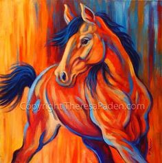 abstract horse paintings   Paintings by Theresa Paden: Colorful Abstract Horse Painting, Sunset ...