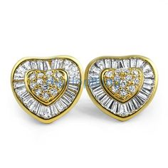 Heart XL Gold Baguette CZ Bling Bling Earrings Custom Gold Micro Pave Earrings
