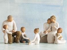 Family Groupings of Willow Tree hand-sculpted figures by Susan Lordi Willow Tree Family, Willow Tree Figurines, Brother And Sister Love, Cat Light, Grandmothers Love, Dark Love, Tree Silhouette, Child Love, Tree Toppers