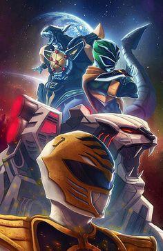 Green Ranger, Dragonzord, White Ranger and the White Tigerzord