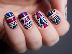 Fabulous Aztec Tribal Pattern With Blue And Pink And Black Colors On White Nail Art Design Ideas