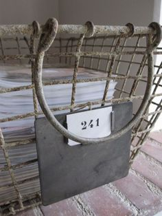 wire basket with number Wire Crate, Vintage Wire Baskets, Vintage Iron, Pretty Box, Shed Storage, Farmhouse Chic, Vintage Industrial, Basket Weaving, Shabby