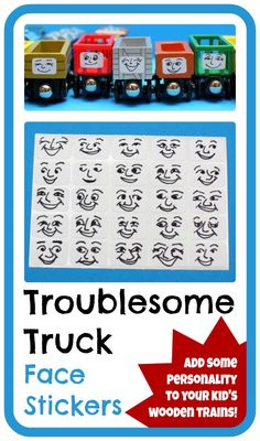 DIY removable Troublesome Truck faces for wooden trains. Any Thomas the Tank Engine fan would love this personality upgrade for these freight cars!  Another fun DIY train project from Play Trains!
