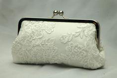 Ooh La La Lace-- French Lace & Pearl Bridal Clutch (Ivory)