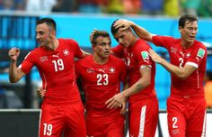 Xherdan Shaqiri of Switzerland celebrates scoring his team's second...