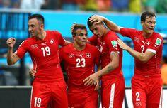 Xherdan Shaqiri of Switzerland celebrates scoring his team's second...