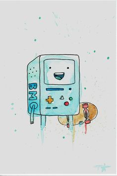 BMO from Adventure Time Original Watercolor 4x6 by allbroke