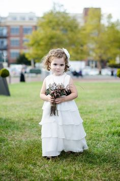 White flower girl dress idea - floor-length, ruffled, white dress with headband + bouquet {Kirsten Smith Photography}