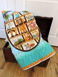 Baby boy quilt, Noah ark quilt, animal quilt.