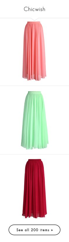 """Chicwish"" by tinkertot ❤ liked on Polyvore featuring skirts, bottoms, maxi skirts, saias, pink, red pleated maxi skirt, long chiffon skirt, pink pleated maxi skirt, pink maxi skirt and green"
