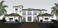 Plan 31830DN: Florida House Plan with Third Floor Tower
