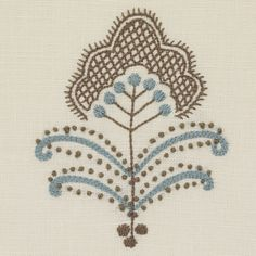 Chelsea Textiles | Mogul flower by Neisha Crosland Hand embroidered fabric
