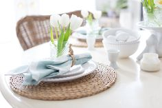 Hello friends. Yesterday I shared with you these sweet little napkin rings and today I want to share a simple Easter table along with some changes around the house.Tulips are a Spring staple and ...
