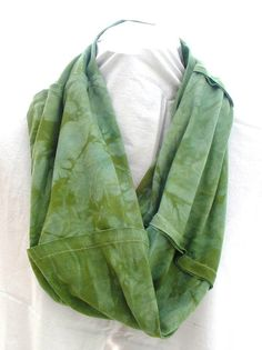 "$12.00--100% Cotton ""Twisted"" Infinity Scarf Crinkle Dyed by EarthboundCreationss,"