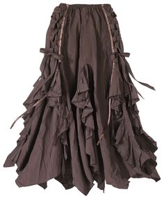 """Pagan Skirts Wicca Witch: Ribboned Bark Skirt. Dryads and wood nymphs love the woodsy, """"tree-bark"""" tailoring of this unique skirt, shot through with tendrils of satiny ribbon and trails of lace."""