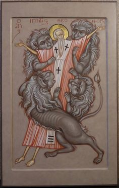 Odd icon a deviation from the normal form with exagerated elongation. Not sure about taking such liberties with sacred art..love the lions though