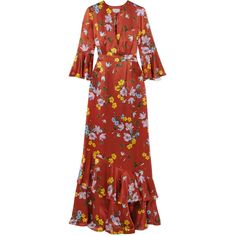 Erdem Venice floral-print silk-satin gown ($2,735) ❤ liked on Polyvore featuring dresses, gowns, gown, floral print dress, red gown, floral print gowns, floral print evening gown and floral dresses