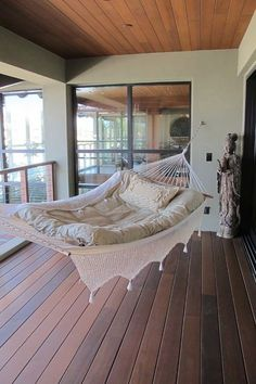 Who has the room for this? Hang a hammock. If it's too hot and buggy out, hang it inside. A book and a glass of lemonade are just as good in an indoor hammock as they are in an outdoor one. Dream Rooms, My Dream Home, Future House, Outdoor Spaces, Outdoor Lounge, Indoor Outdoor, Interior And Exterior, Beautiful Homes, Sweet Home