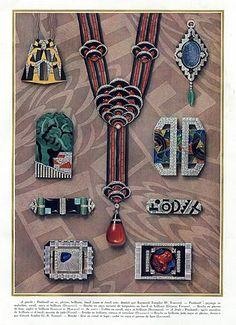 Bijoux Art Déco - Affiche - Templier, Dusausoy, Vever, Roger Sandoz, Marchak, Robert Linzeler et Jacques Lacloche - 1927