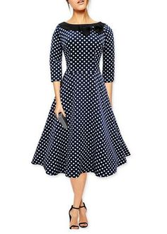 6fa1f2040a swing dress Picture - More Detailed Picture about T O Elegant Woman 3 4  Sleeve Polka Dot Wine Red Black Blue Bow Neck Vintage Dresses Evening Party  Club Big ...