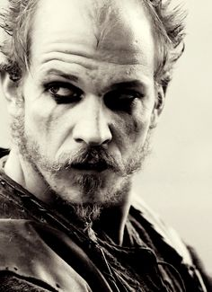 Gustav Skarsgård, Floki, Vikings, great tv, addiction, beard, powerful face, intense eyes, love his make-up, portrait, photo b/w.