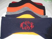 Monogrammed Fleece Headband-- Navy with hot pink thread