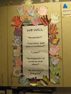 "This display shows that all students ""have a hand"" in creating classroom rules :)"