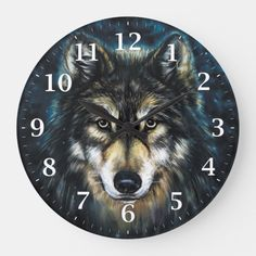 This beautiful clock is the perfect gift for anyone who loves wolves, fantasy and gothic. Curated by Flaming Prints. Amelie, Knotty Pine Rooms, Wolf Artwork, Wolf Stuff, Magical Forest, Cottage Design, Animal Skulls, Room Accessories, Bedroom Themes