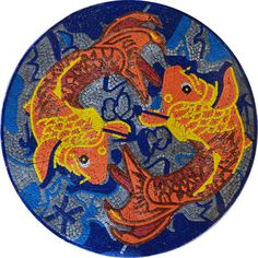 Fish Mosaics - Mosaic Medallion - Mosaic Rug for your Pools and Bathrooms - Pool Art - Pool Mosaics