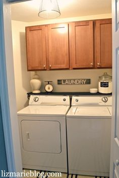 Laundry Room Re-do. Putting a shelf over the washer and dryer for extra space  decor. Adding a DIY painted rug, Antique scale, painted sign, DIY wire basket light fixture,  DIY laundry Soap. clever-ideas