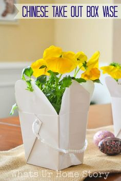 Chinese Take Out Box Vase, Spring centerpiece, http://www.whatsurhomestory.com